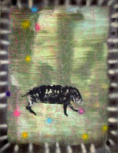 Christine Krämer · Wotan · 1989 · 130 x 170 cm · oil, acrylic, dispersion and spray on canvas